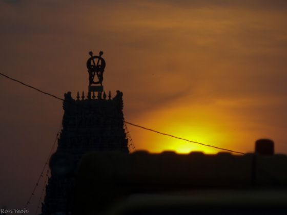 sunset over the indian temple in butterworth