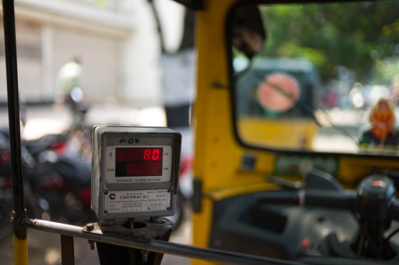 old fashioned meter on our tuktuk