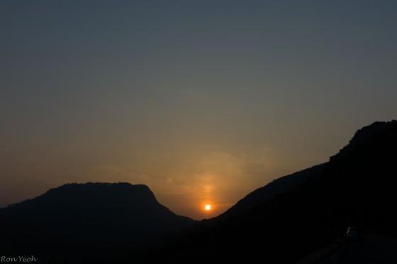 sunrise over nandi hills