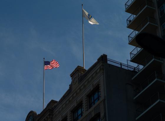 Flags fluttering