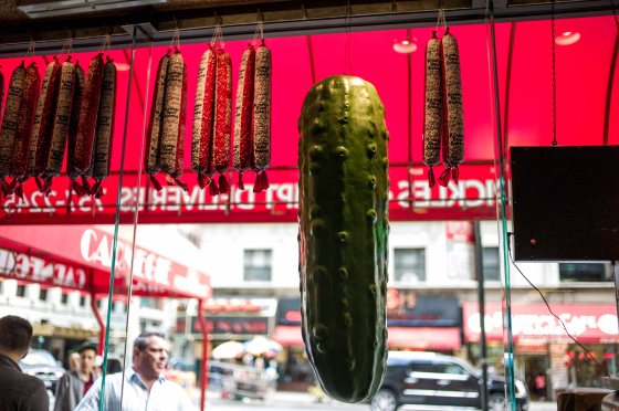 giant gherkin in window