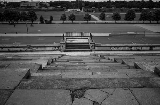 This is the view Hitler would have gotten as he walked down these steps to the railed podium