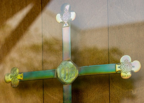 detail on cross handcrafted without metalwork tools...