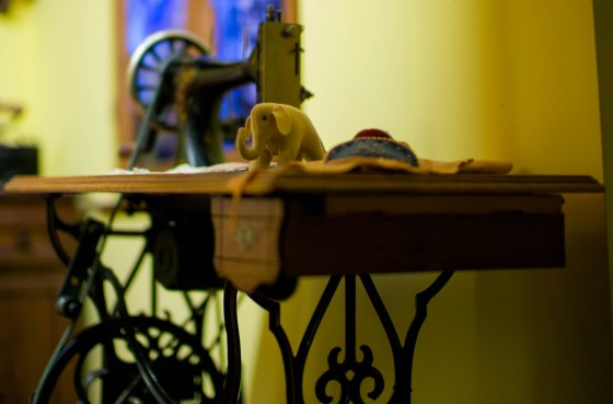 Margaret Steiff's sewing machine with the elephant which started it all