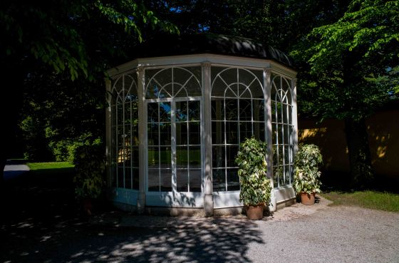The pavilion where Rolf serenaded Liesl and the Captain, Maria