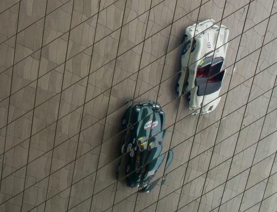 vintage Porsches reflected in the ceiling