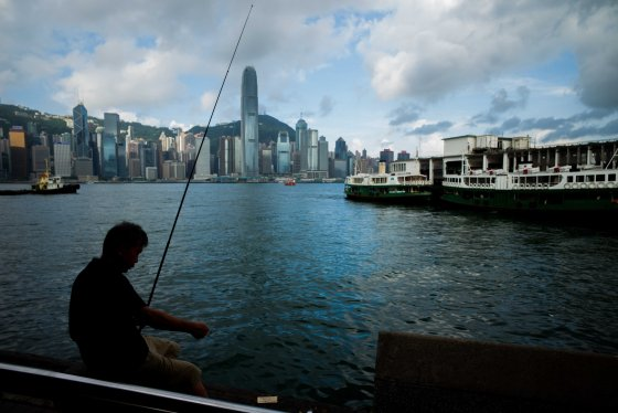 fisherman at the Star Ferry terminal