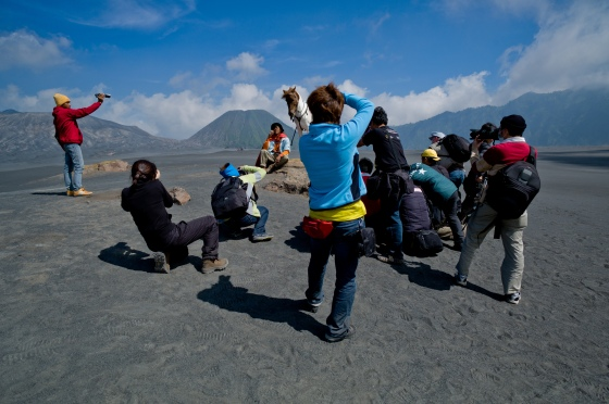 shooting on the whispering sands below Bromo