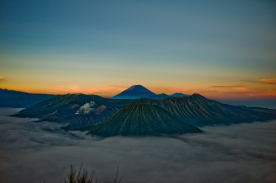surrounding mount bromo with a sea of cloud