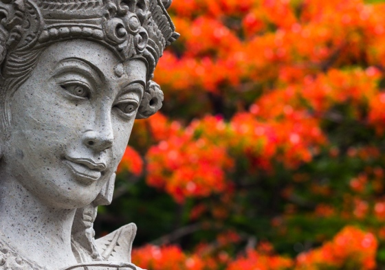 Statues and flowers abound in Bali