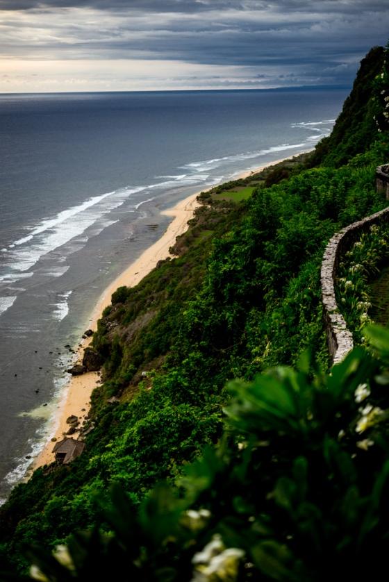 view of the coastline from the Bulgari Resort