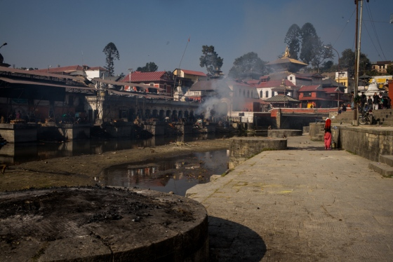 Pushpatinah temple complex where the funeral pyres are smoking