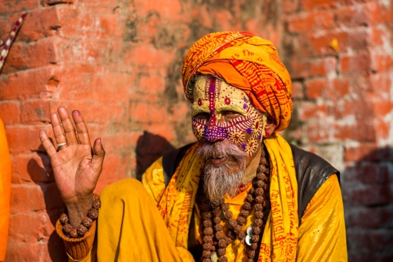 a few sadhus were around