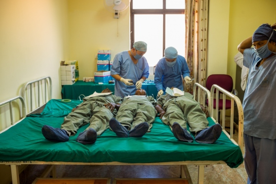 pre-operative preparations with injections of local anaesthesia