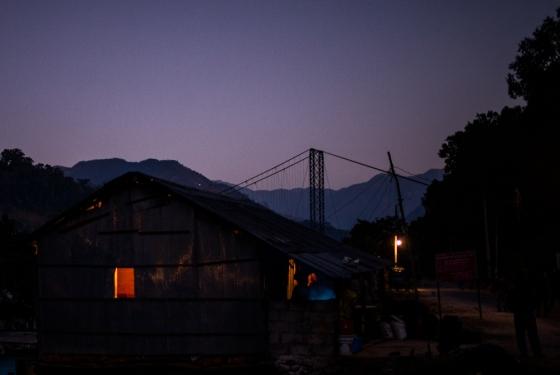 the suspension bridge as the sun rose