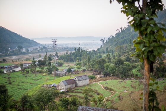 the town of hetauda, taken from a hill above the suspension bridge over the Rapti River