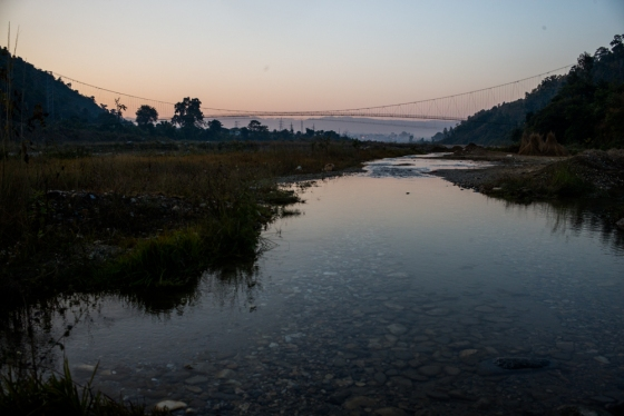 suspension bridge over the Rapti, about 1 km up river