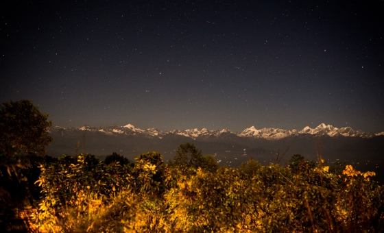 the Himalayan range from Nagarkot shot at 10pm by starlight