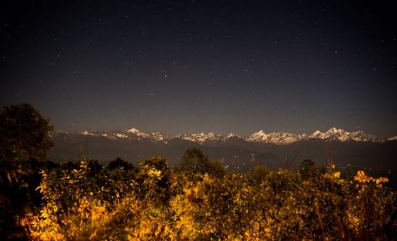 the Himalayan range from Nagarkot shot at 10pm by starlight