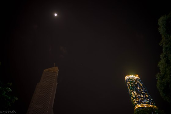 Twin Towers by moonlight