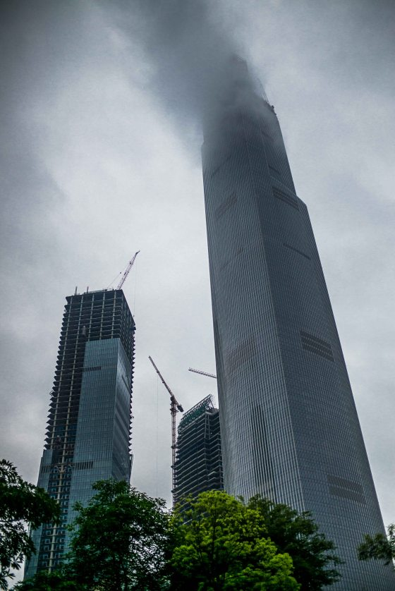 The East Tower literally reached the clouds