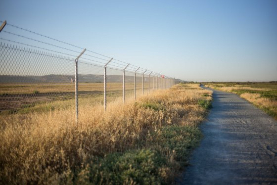 The path leading into the reserve, skirting the air base on the left...lots of birds perch on the wire!