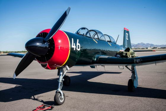 Warren's Nanchang CJ6 resplendent in dark green with his call sign Lobo 46