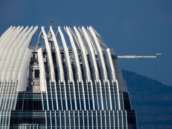 This was a good place to try the 2000mm zoom on my Nikon P900...I saw this horizontal pole sticking out of the IFC..