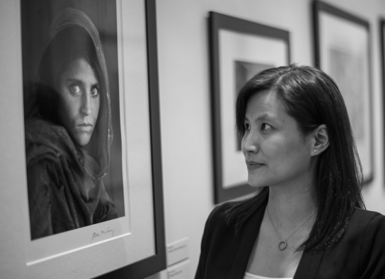 Steven McCurry's Afghan Girl photograph...here with the manager of the museum, Carrie.