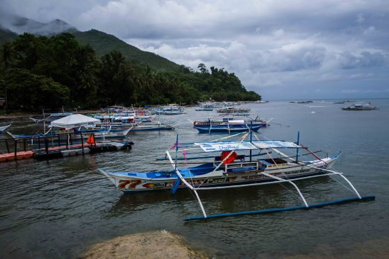 The dark clouds and moored boats at Sabang