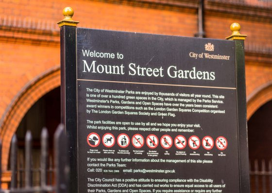 The entrance sign board at one end of Mount Street itself with a delightful write up on the trees and flowers of the garden