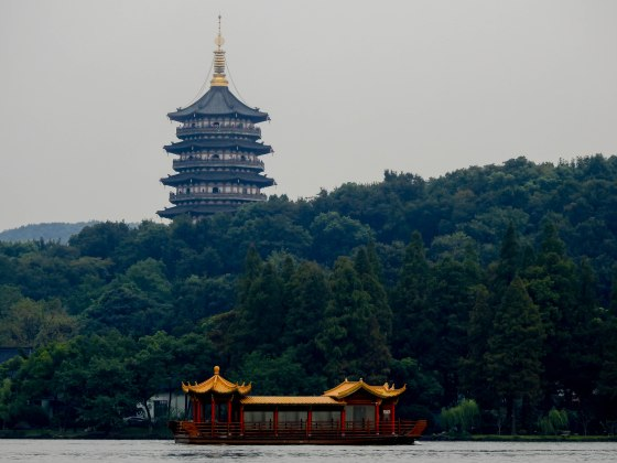 The must-see Lei Feng Pagoda stands majestically overlooking xihu