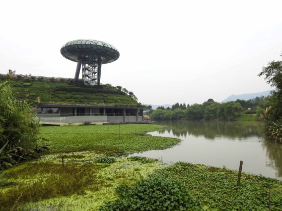 emerging from the sanctuary, if you turn left and head towards the Xixi wetland museum, you see this monstrous building that is a real blot on the landscape.....