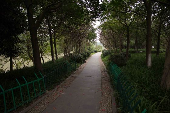 this is the walkway alongside the main tien shan road running along the park...it overlooks a big waterway...walking here was quite productive..
