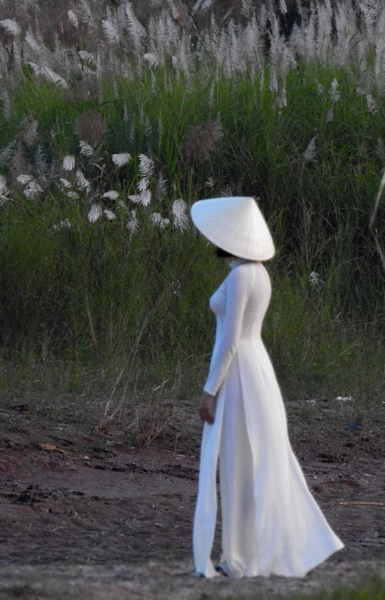 Walking back to another part of the riverbank, we saw this glamorous vietnamese lady in her ao dai