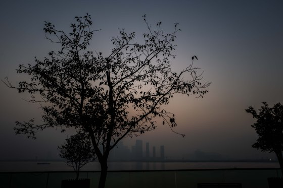 Daybreak over the Qiantang River in the mist...